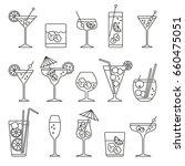 monochrome cocktails set  thin... | Shutterstock .eps vector #660475051