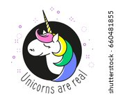 unicorn vector circle icon with ... | Shutterstock .eps vector #660481855