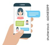 chatting with chatbot on phone  ... | Shutterstock .eps vector #660485899