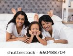 portrait of cheerful multi... | Shutterstock . vector #660488704