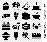 delicious icons set. set of 16... | Shutterstock .eps vector #660494059