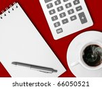 White calculator and white note paper with pen and white cup of hot coffee on red table - stock photo