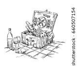 picnic hamper  lunch on the... | Shutterstock .eps vector #660507154
