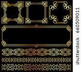 golden asian retro frames and... | Shutterstock . vector #660509011