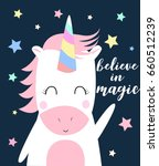 sweet unicorn illustration... | Shutterstock .eps vector #660512239