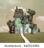 fantasy country house with tree ...   Shutterstock . vector #660514381