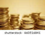 rows of gold coins for finance... | Shutterstock . vector #660516841