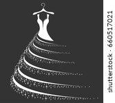 wedding dress silhouette.... | Shutterstock .eps vector #660517021