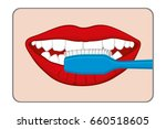 woman brushing her teeth... | Shutterstock . vector #660518605