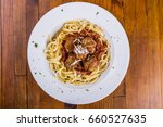 spaghetti bolognese  flat lay... | Shutterstock . vector #660527635