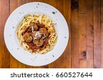 spaghetti bolognese  flat lay... | Shutterstock . vector #660527644