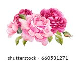 Stock photo watercolor illustration of a bouquet with a purple and delicate pink rose leaves and bud greeting 660531271