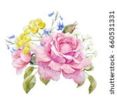 Watercolor Floral Bouquet Of...