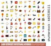 100 street festival icons set... | Shutterstock . vector #660538111