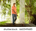 hispanic blind man  latino... | Shutterstock . vector #660549685