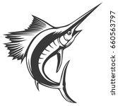 marlin fish logo.sword fishing... | Shutterstock .eps vector #660563797