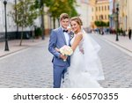 a loving couple of newlyweds... | Shutterstock . vector #660570355