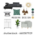 modern interior design vector... | Shutterstock .eps vector #660587929