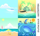 set tropical seascape with... | Shutterstock .eps vector #660589984