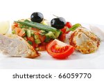 isolated grilled chicken... | Shutterstock . vector #66059770