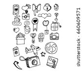 doodle items and things for... | Shutterstock .eps vector #660609571