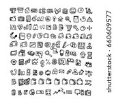 doodle finance icons. hand... | Shutterstock .eps vector #660609577