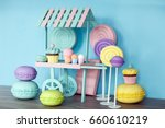 large artificial sweets in the... | Shutterstock . vector #660610219