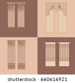curtains and draperies...   Shutterstock .eps vector #660616921
