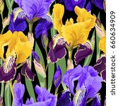 floral pattern with iris flowers | Shutterstock .eps vector #660634909