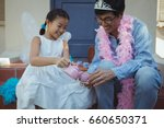 father and daughter in fairy... | Shutterstock . vector #660650371