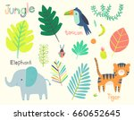 Stock vector cute jungle illustration clip art collection 660652645