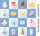 milk product icon set. dairy... | Shutterstock .eps vector #660660121