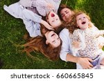 happy cheerful family with two... | Shutterstock . vector #660665845