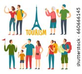cartoon different age tourists... | Shutterstock .eps vector #660666145