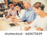 experienced teacher giving... | Shutterstock . vector #660670639
