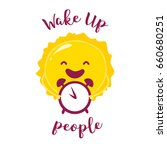 wake up poster with funny sun... | Shutterstock .eps vector #660680251