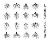 set of black roots. vector... | Shutterstock .eps vector #660688819