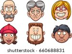 cartoon people's faces. vector... | Shutterstock .eps vector #660688831