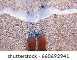 sea pebbles and water. hipster ... | Shutterstock . vector #660692941