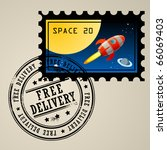 post stamp with rocket in the... | Shutterstock .eps vector #66069403