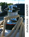 Winch On Sailing Boat With...