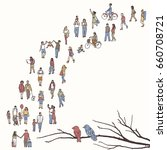 tiny people walking in a queue  ... | Shutterstock .eps vector #660708721