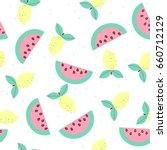 pastel sweet fruits seamless... | Shutterstock .eps vector #660712129