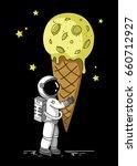 little cute astronaut holds a...   Shutterstock . vector #660712927