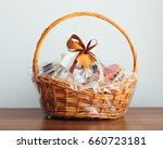 gift basket on grey background | Shutterstock . vector #660723181
