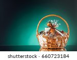 gift basket on emerald... | Shutterstock . vector #660723184