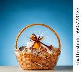 gift basket on blue background | Shutterstock . vector #660723187