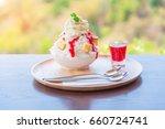 kakigori strawberry cheesecake. ... | Shutterstock . vector #660724741