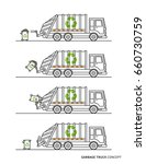 garbage truck vector... | Shutterstock .eps vector #660730759