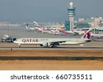 Small photo of incheon Korea 2 Apr 2017 : Qatar airways which the best airway with Boeing 777-300ER was landing on runway and pass the terminal in Incheon international airport.